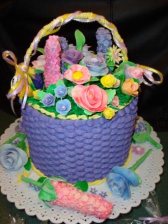 Flower Basket 50 Servings With Fondant Flowers 200