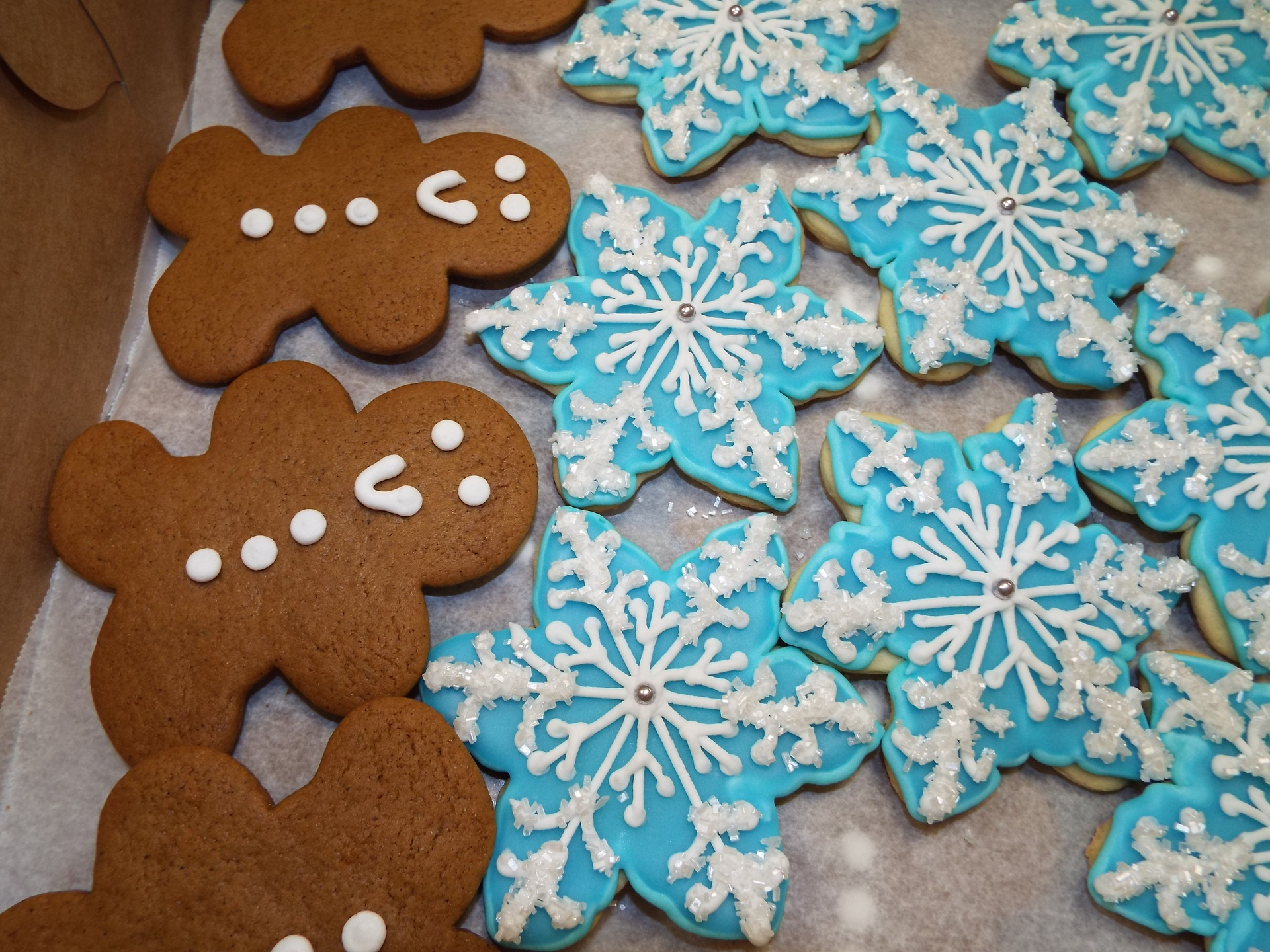 gingerbread men $1.50 each, snowflakes $3.50 each