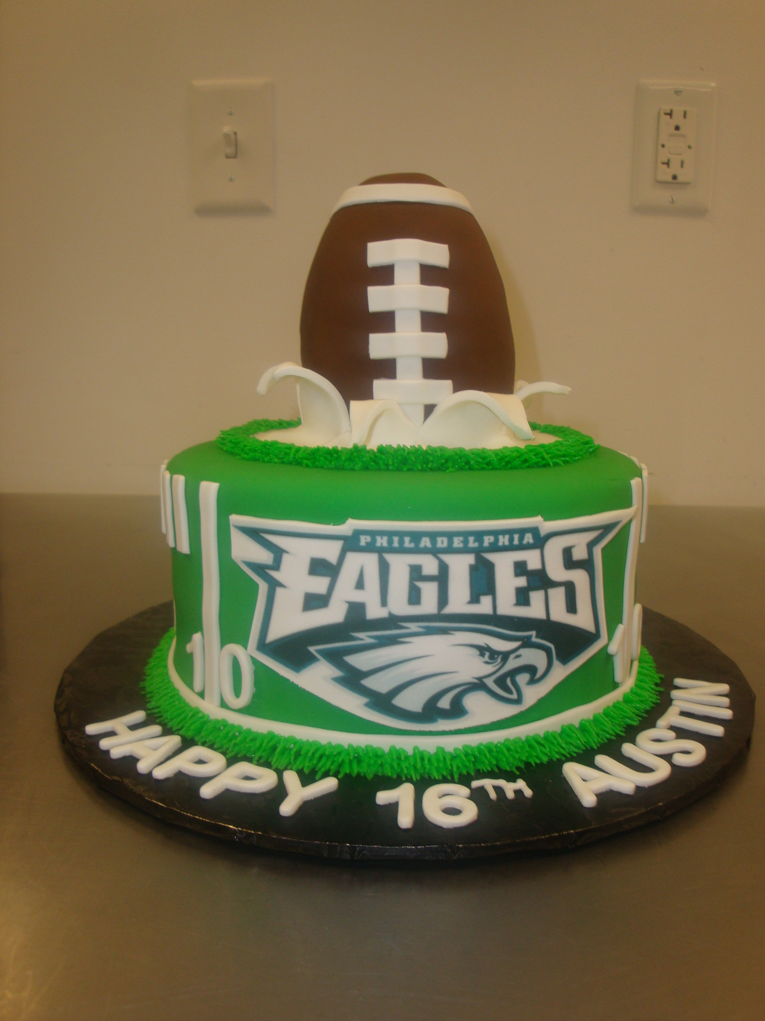 15 serving cake with rice krispy football $100