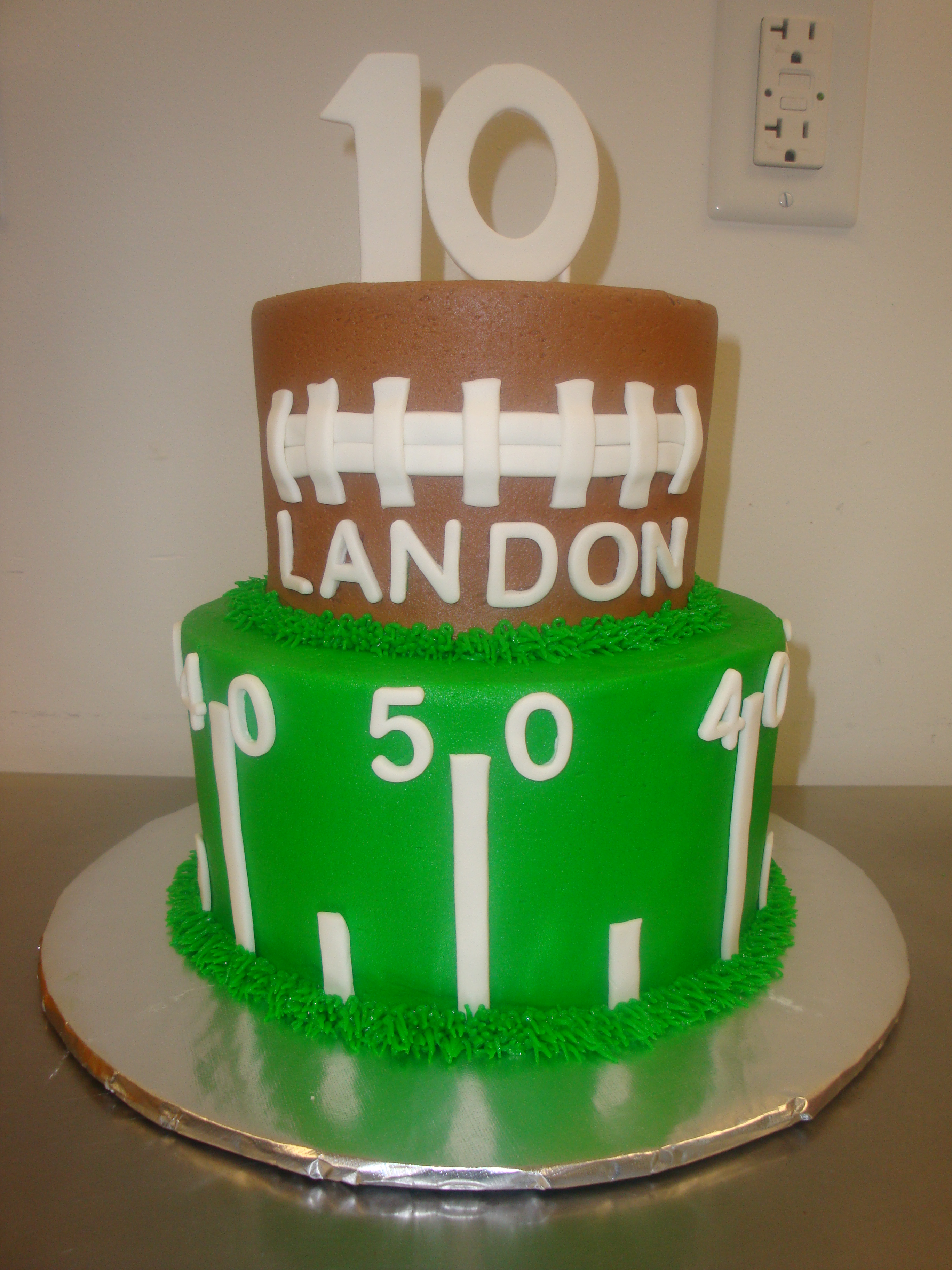 Football tiered cake 25 servings $90