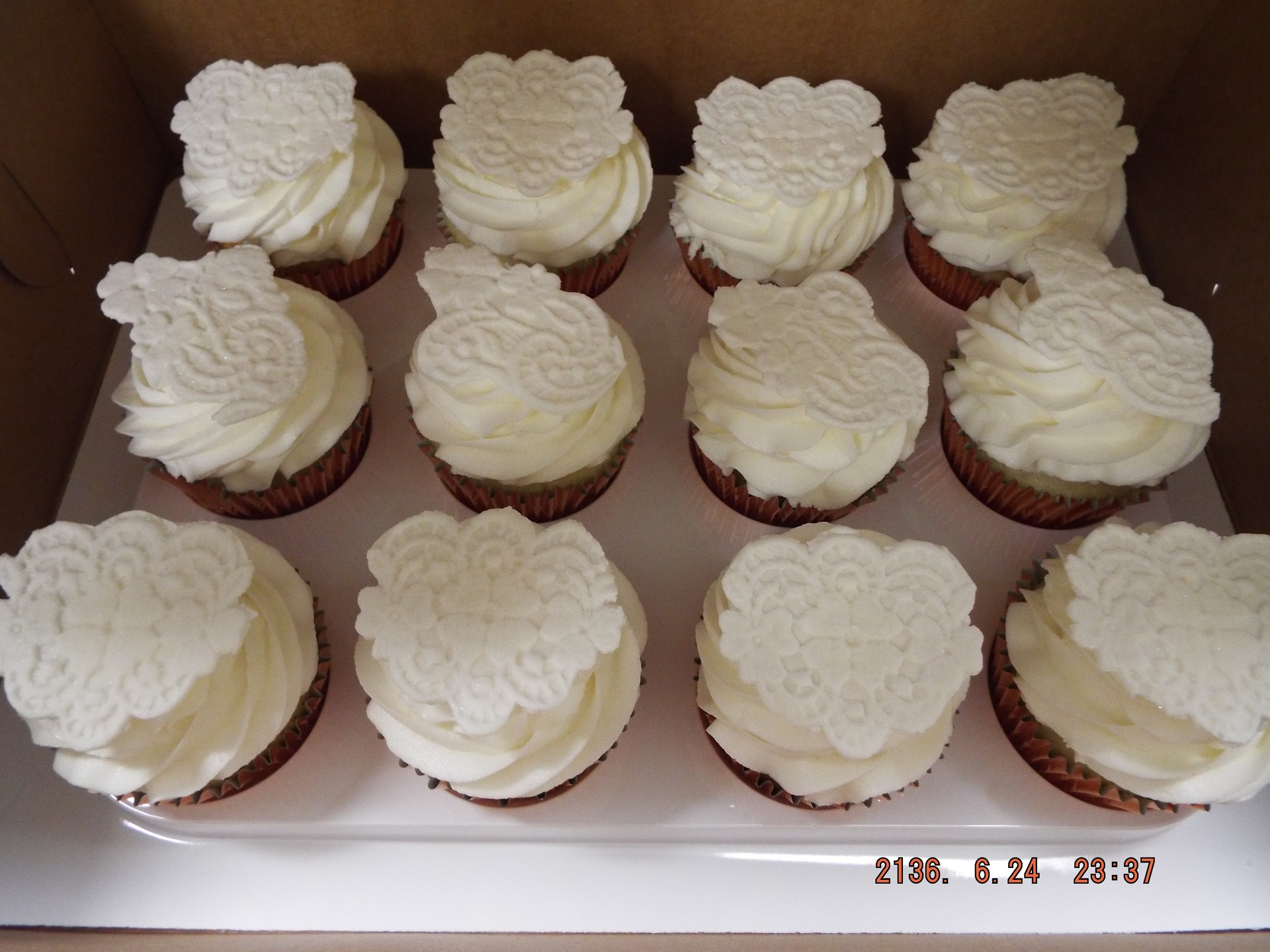 fondant lace topper cupcakes $3.50/each
