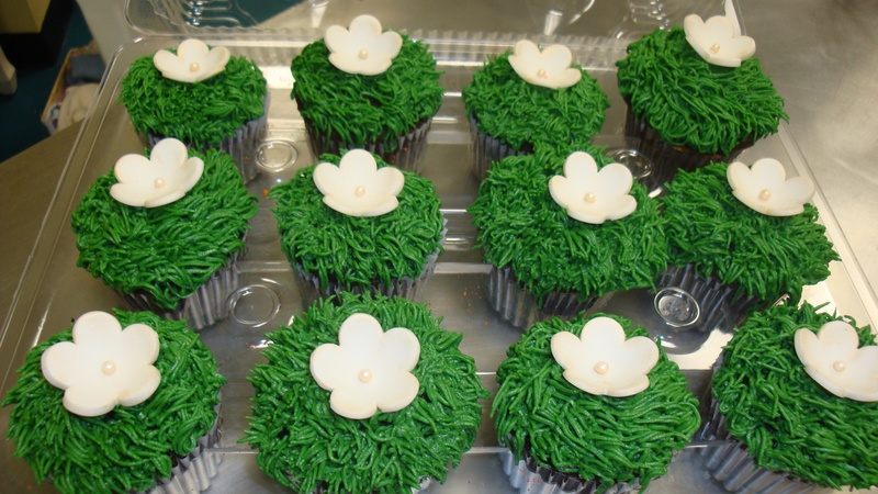 fondant flower topped cupcakes $3 each