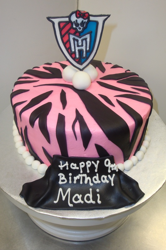 monster high zebra stripe cake 15serv $75