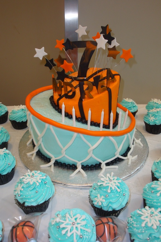 topsy turvy basket ball theme cake $6/serving